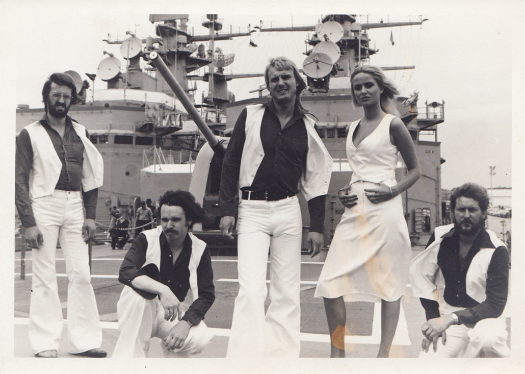 1970's rock band on a battle ship